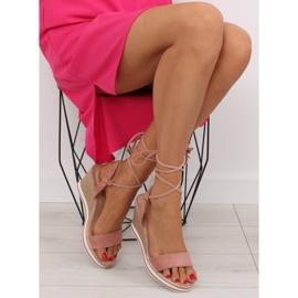 Sandałki na koturnie różowe JH630 pink 6