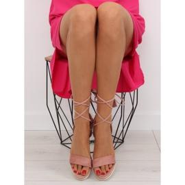 Sandałki na koturnie różowe JH630 pink 5