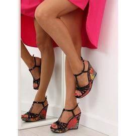 Sandałki na koturnie czarne BL201 black 6