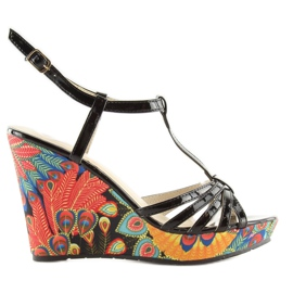 Sandałki na koturnie czarne BL201 black 1