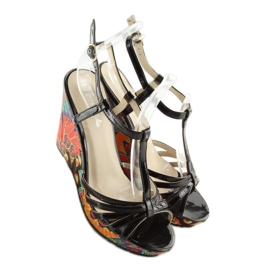 Sandałki na koturnie czarne BL201 black 2