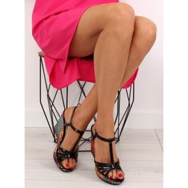 Sandałki na koturnie czarne BL201 black 5