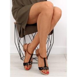 Sandałki na płaskiej podeszwie czarne 9871 Black 5