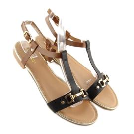 Sandałki na płaskiej podeszwie czarne 9871 Black 4