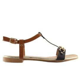 Sandałki na płaskiej podeszwie czarne 9871 Black 3