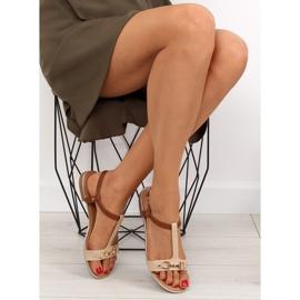 Sandałki na płaskiej podeszwie beżowe 9871 Beige beżowy 4