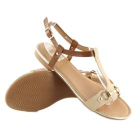 Sandałki na płaskiej podeszwie beżowe 9871 Beige beżowy 1