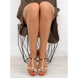 Sandałki na płaskiej podeszwie beżowe 9871 Beige beżowy 2