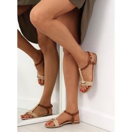 Sandałki na płaskiej podeszwie beżowe 9871 Beige beżowy 5