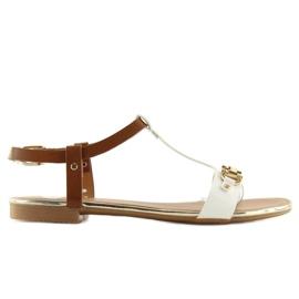 Sandałki na płaskiej podeszwie białe 9871 White 3