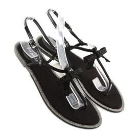 Sandałki damskie japonki czarne 17715 Negro 2