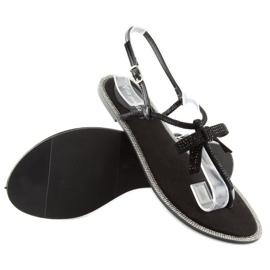 Sandałki damskie japonki czarne 17715 Negro 5