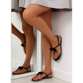 Sandałki damskie japonki czarne 17715 Negro 6