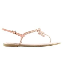 Sandałki damskie japonki różowe 17715 Rosa 4