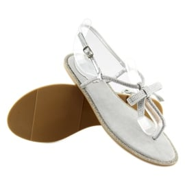 Sandałki damskie japonki szare 17715 Grigio 5