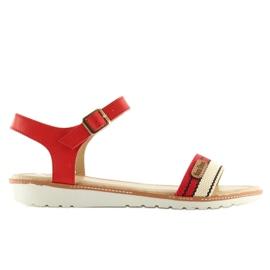Sandałki na płaskiej podeszwie czerwone J1024-A5 Red 6
