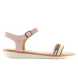 Sandałki na płaskiej podeszwie różowe J1024 5