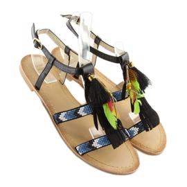 Sandałki w stylu boho czarne LQ-2662 black 1
