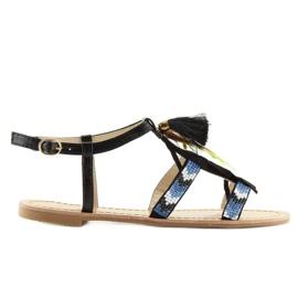 Sandałki w stylu boho czarne LQ-2662 black 2