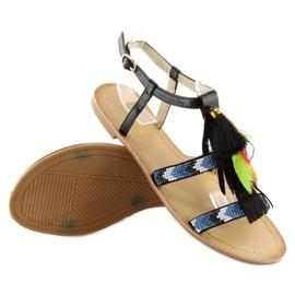 Sandałki w stylu boho czarne LQ-2662 black 3