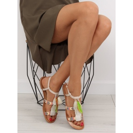 Sandałki w stylu boho beżowe LQ-2662 Beige beżowy 6