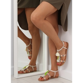 Sandałki w stylu boho beżowe LQ-2662 Beige beżowy 1