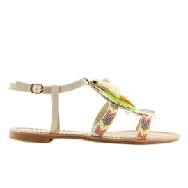 Sandałki w stylu boho beżowe LQ-2662 Beige beżowy 3