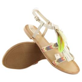 Sandałki w stylu boho beżowe LQ-2662 Beige beżowy 4