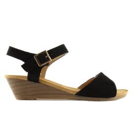 Sandałki na niskim koturnie czarne LS-89015 6