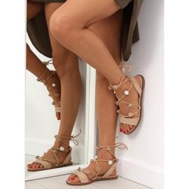Sandałki wiązane na kostkę beżowe SR-2687 beżowy 2