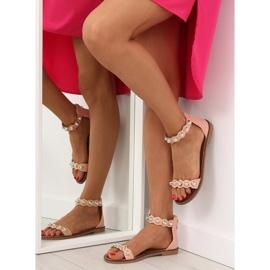Sandałki zapinane na kostkę różowe VS-376 Pink 2