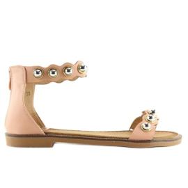 Sandałki zapinane na kostkę różowe VS-376 Pink 6