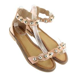 Sandałki zapinane na kostkę różowe VS-376 Pink 1