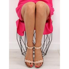 Sandałki zapinane na kostkę różowe VS-376 Pink 3