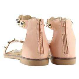 Sandałki zapinane na kostkę różowe VS-376 Pink 4