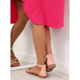 Sandałki zapinane na kostkę różowe VS-376 Pink 5