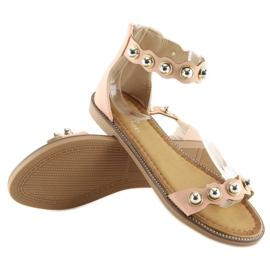 Sandałki zapinane na kostkę różowe VS-376 Pink 7
