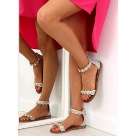 Sandałki zapinane na kostkę srebrne VS-376 Silver szare 4