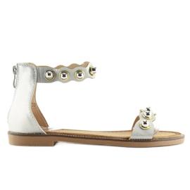 Sandałki zapinane na kostkę srebrne VS-376 Silver szare 6