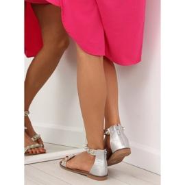 Sandałki zapinane na kostkę srebrne VS-376 Silver szare 5