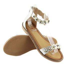 Sandałki zapinane na kostkę srebrne VS-376 Silver szare 7