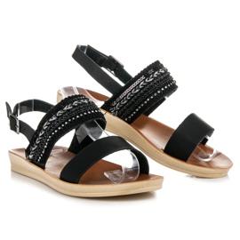 Beauty Girl'S Czarne sandałki z koralikami 1