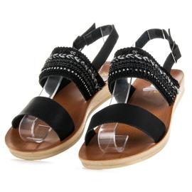 Beauty Girl'S Czarne sandałki z koralikami 3