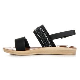Beauty Girl'S Czarne sandałki z koralikami 2
