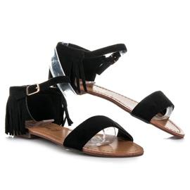 Queen Vivi Płaskie sandałki z frędzlami czarne 2