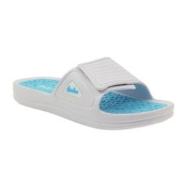 American Club American klapki damskie basenowe białe niebieskie 1
