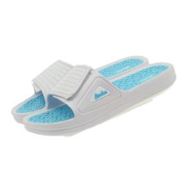 American Club American klapki damskie basenowe białe niebieskie 4