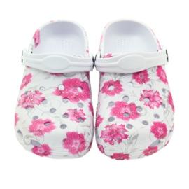 American Club American klapki dziecięce kroksy kwiaty białe szare różowe 3