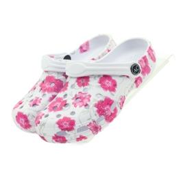 American Club American klapki dziecięce kroksy kwiaty białe szare różowe 4