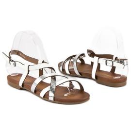 Białe sandały vinceza szare 3